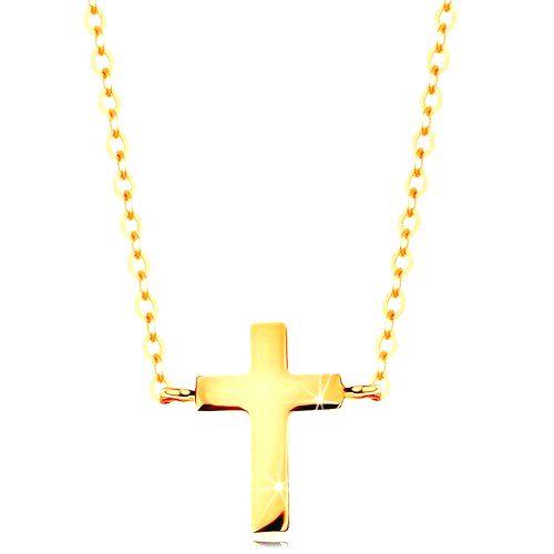 Náhrdelník v žltom zlate 585 - malý latinský krížik