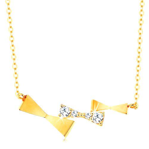 Náhrdelník v žltom zlate 585 - trojica ligotavých mašličiek na retiazke