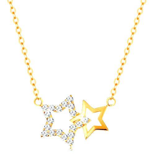 Náhrdelník zo žltého 14K zlata - dve kontúry hviezdičiek
