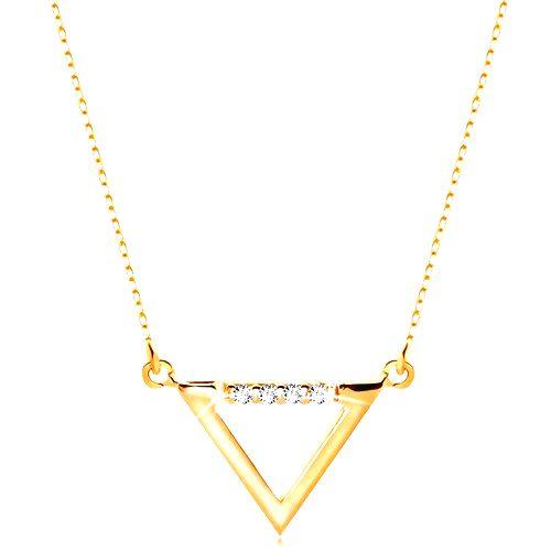 Náhrdelník zo žltého 14K zlata - kontúra trojuholníka zdobená čírymi zirkónmi