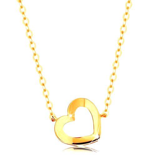 Náhrdelník zo žltého 14K zlata - lesklá kontúra srdiečka