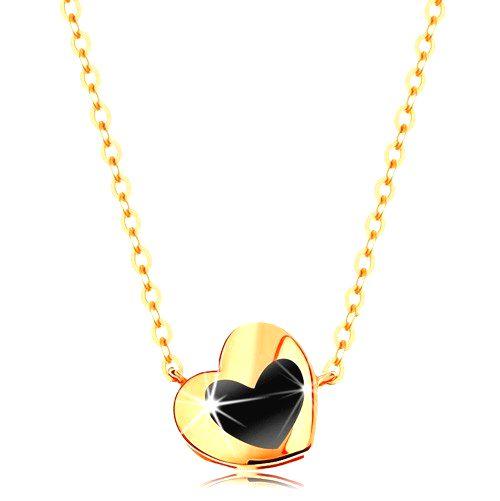 Náhrdelník zo žltého 14K zlata - lesklé srdiečko s čiernou glazúrou
