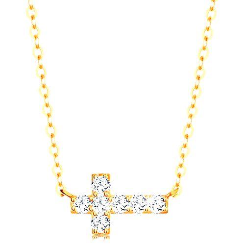 Náhrdelník zo žltého 14K zlata - ligotavý zirkónový krížik