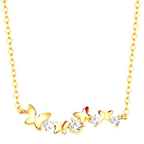 Náhrdelník zo žltého 14K zlata - motýle a číre zirkóny