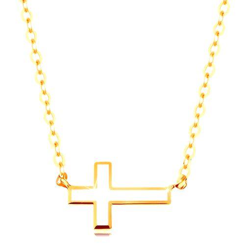 Náhrdelník zo žltého zlata 585 - biely glazúrovaný krížik