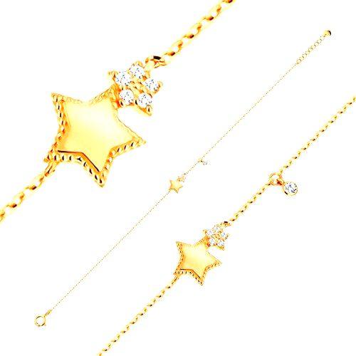 Náramok v žltom 14K zlate - dve ligotavé päťcípe hviezdy a okrúhly číry zirkón