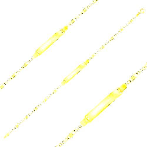 Náramok v žltom 14K zlate s platničkou - tri očká a článok s mriežkou