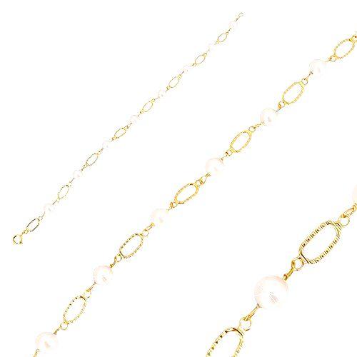 Náramok v žltom zlate 585 - biele guľaté perly