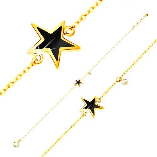 Náramok v žltom zlate 585 - čierna glazúrovaná hviezdička