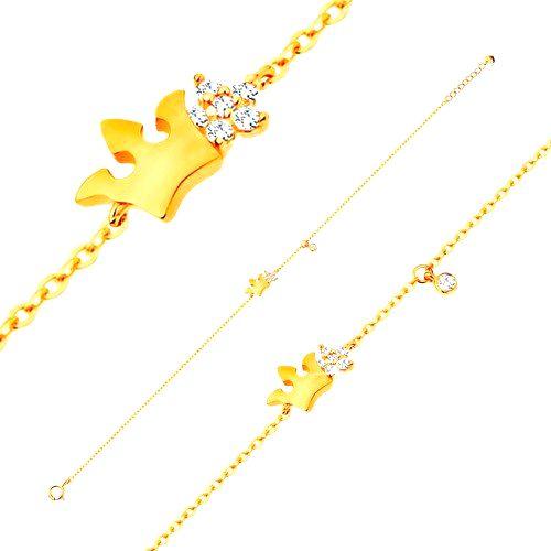 Náramok zo žltého 14K zlata - lesklá korunka a číry zirkónový kvet