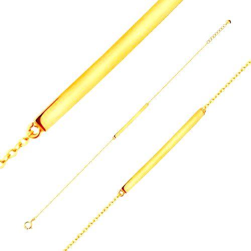 Náramok zo žltého 14K zlata - lesklý úzky pás