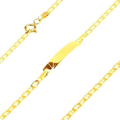 Náramok zo žltého 14K zlata - platnička