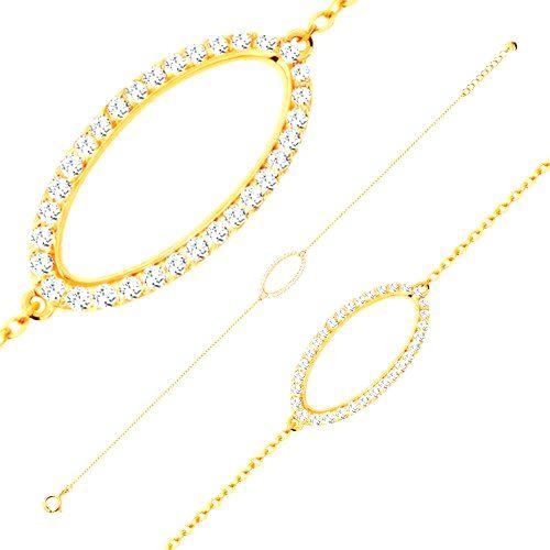 Náramok zo žltého 14K zlata - trblietavý obrys oválu so zirkónmi čírej farby