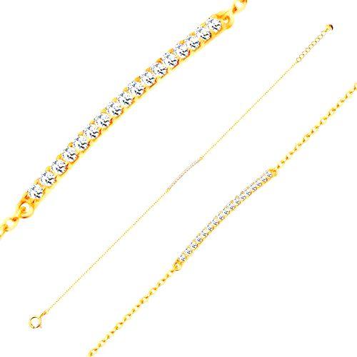 Náramok zo žltého 14K zlata - trblietavý úzky pás zo zirkónov čírej farby