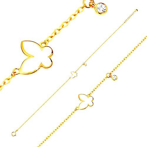 Náramok zo žltého zlata 585 - glazúrovaný biely motýľ a okrúhly zirkónik čírej farby
