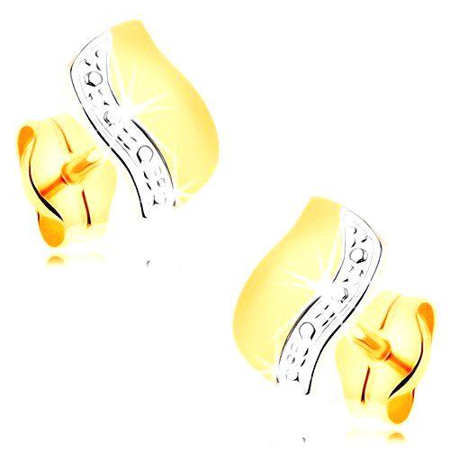 Náušnice v 14K zlate - dvojfarebná vlnka s líniou drobných bodiek