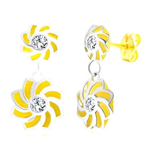 Náušnice v 14K zlate - dvojfarebné kvety so zatočenými lupeňmi a zirkónom