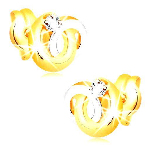 Náušnice v 14K zlate - dvojfarebné prepojené prstence