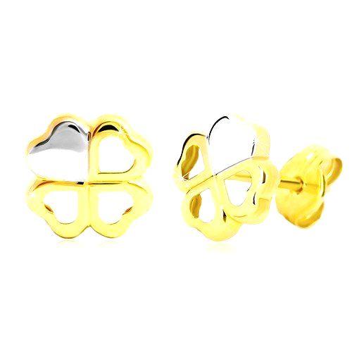 Náušnice v 14K zlate - dvojfarebný štvorlístok pre šťastie