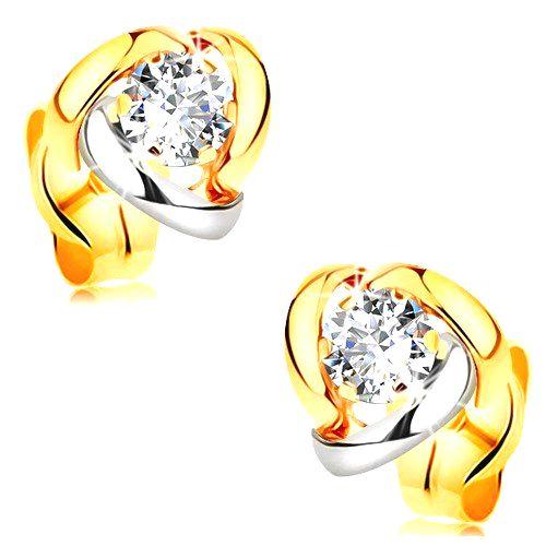 Náušnice v 14K zlate - žiarivý číry briliant lemovaný dvojfarebnými oblúkmi