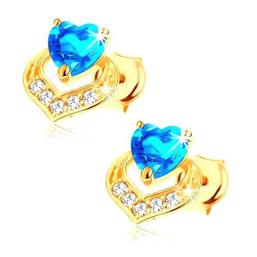 Náušnice v 14K žltom zlate - srdiečkový modrý topás