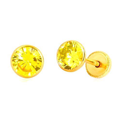 Náušnice v 14K žltom zlate - žltý zirkón v objímke