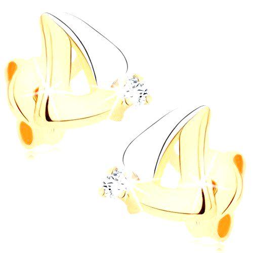 Náušnice v 9K zlate - dvojfarebný obrys trojuholníka