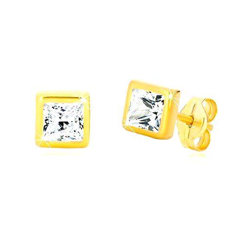 Náušnice v 9K žltom zlate - obrys štvorca