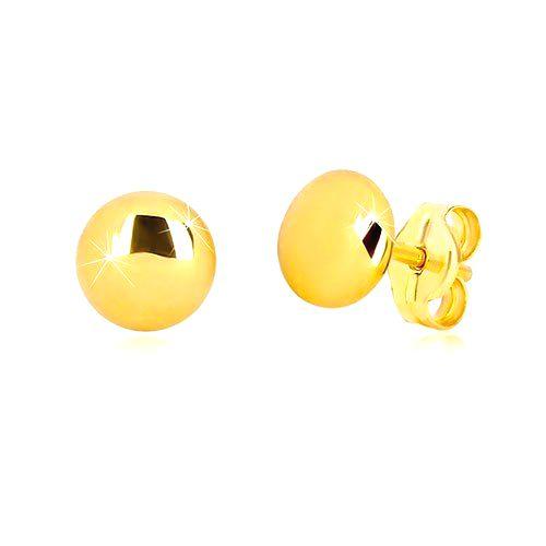 Náušnice v 9K žltom zlate - zrkadlovolesklý krúžok s jemne vypuklým povrchom