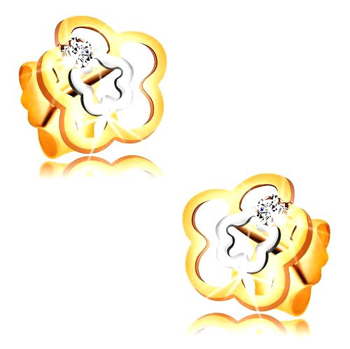 Náušnice v kombinovanom 14K zlate - dvojitá zvlnená kontúra kvetu