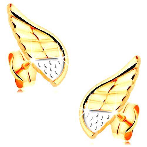 Náušnice v kombinovanom 14K zlate - ligotavé anjelské krídlo s bodkami a zárezmi