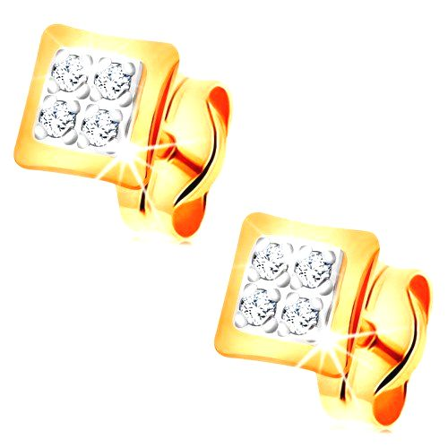 Náušnice v kombinovanom 14K zlate - malé štvorce zdobené čírymi zirkónikmi