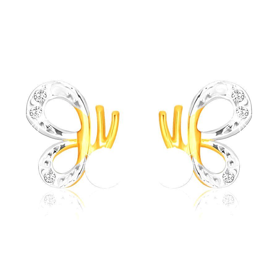 Náušnice v kombinovanom 9K zlate - motýľ s vyrezávanými krídlami a bielou perlou