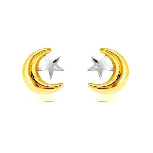 Náušnice v kombinovanom zlate 585 - polmesiačik a hviezda