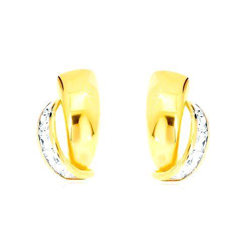 Náušnice v zlate 585 - atypický poloblúk
