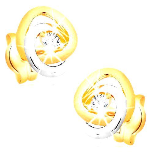 Náušnice v zlate 585 - dvojfarebné prepojené obruče