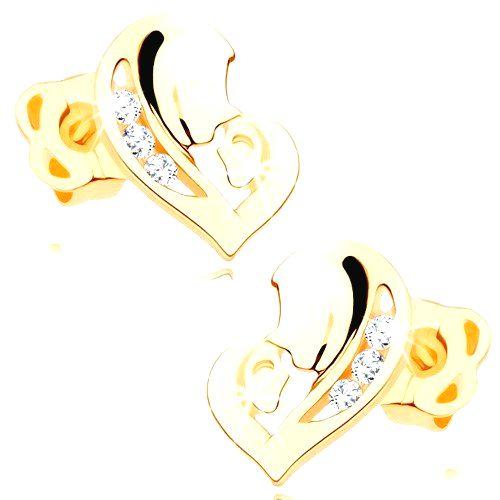 Náušnice v žltom 14K zlate - asymetrické srdce z dvoch tvárí