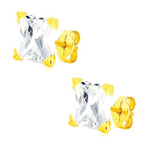 Náušnice v žltom 14K zlate - brúsený zirkónový štvorec čírej farby
