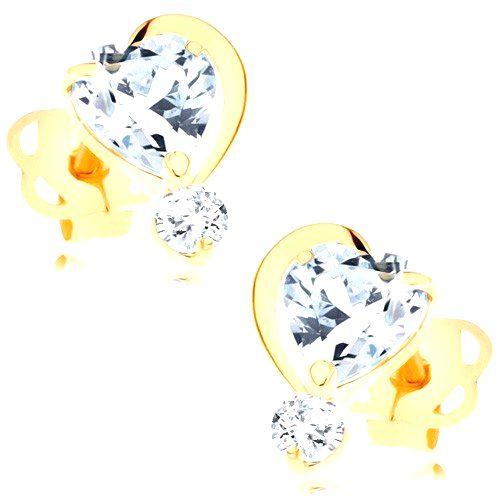 Náušnice v žltom 14K zlate - číre zirkónové srdiečko s polovičným obrysom