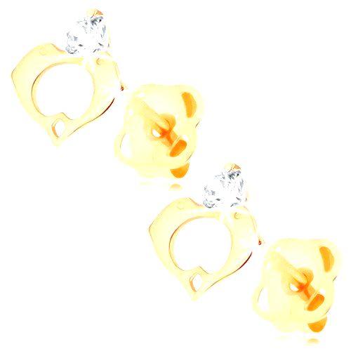 Náušnice v žltom 14K zlate - číry diamant