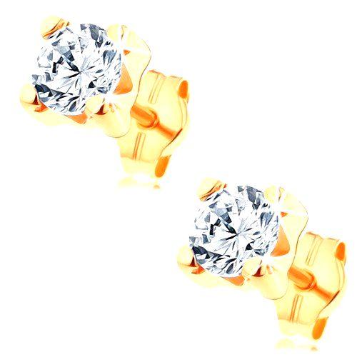 Náušnice v žltom 14K zlate - číry okrúhly zirkón v hranatom kotlíku