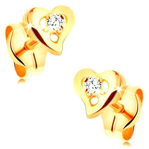 Náušnice v žltom 14K zlate - číry zirkón v kontúre nepravidelného srdiečka