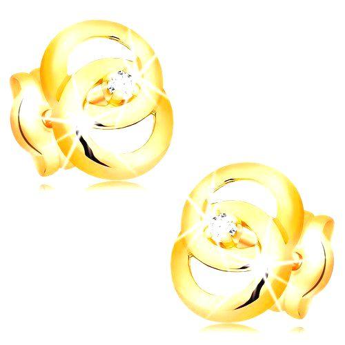 Náušnice v žltom 14K zlate - dva prepojené prstence