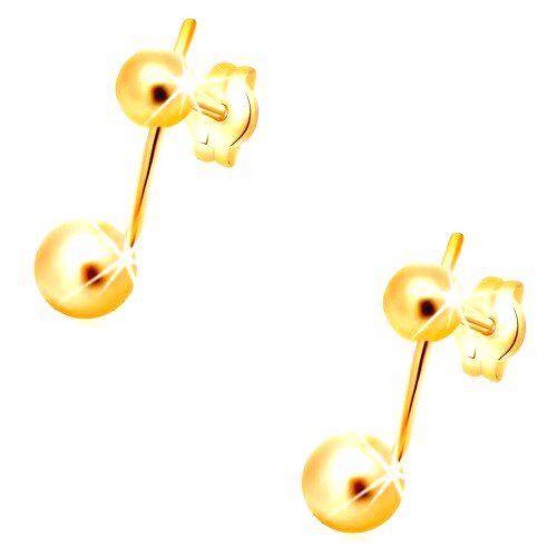 Náušnice v žltom 14K zlate - dve guličky spojené úzkou paličkou