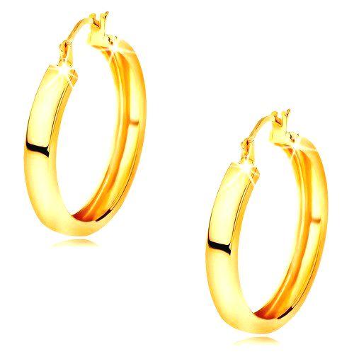 Náušnice v žltom 14K zlate - kruhy s lesklým hladkým povrchom
