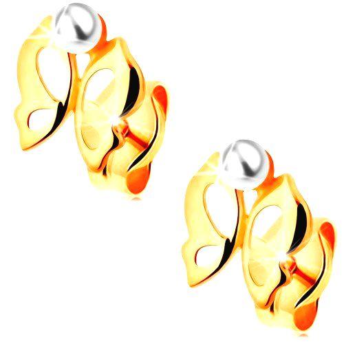 Náušnice v žltom 14K zlate - lesklý vyrezávaný motýlik