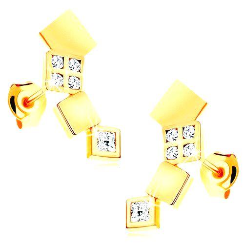 Náušnice v žltom 14K zlate - ligotavé štvorčeky tvoriace oblúk