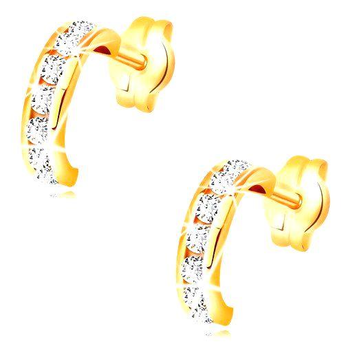 Náušnice v žltom 14K zlate - malé polkruhy vykladané čírymi zirkónmi