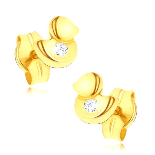 Náušnice v žltom 14K zlate - maličká ligotavá kačička