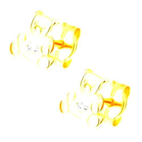 Náušnice v žltom 14K zlate - malý sediaci medvedík
